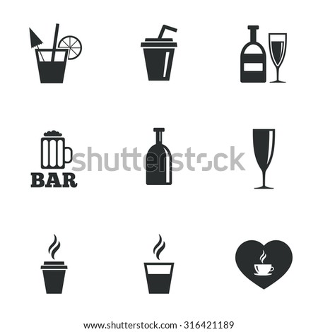 Beer, coffee and tea icons. Beer, wine and cocktail signs. Soft and alcohol drinks symbols. Flat icons on white. Vector - stock vector