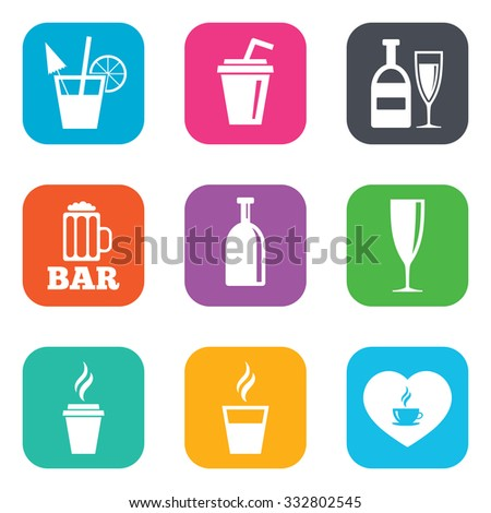 Beer, coffee and tea icons. Beer, wine and cocktail signs. Soft and alcohol drinks symbols. Flat square buttons. Vector - stock vector