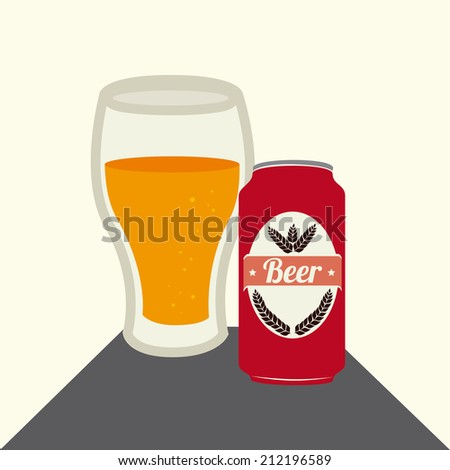 Beer design over yellow background, vector illustration