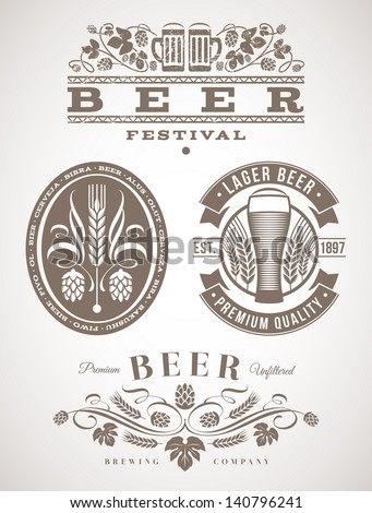 Beer emblems and labels - vector illustration - stock vector