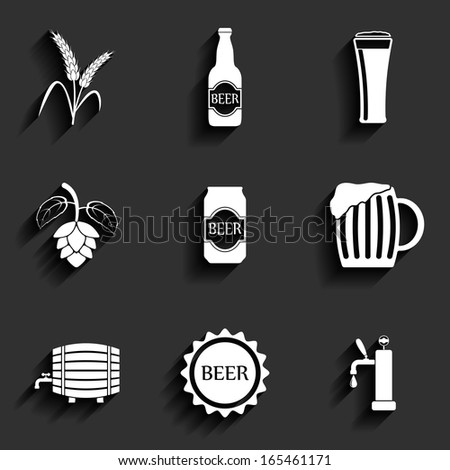 Beer Flat Icons for Web and Mobile Applications - stock vector