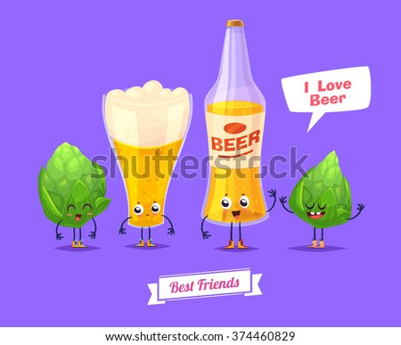 Beer. Funny characters beer glass bottle and thirsty. Best friends set. Vector illustration. Funny alcohol. Vector cartoon illustration. Cute stylish characters. - stock vector