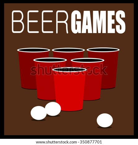 beer games design with cups and balls - stock vector