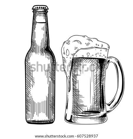Beer Glass Bottle Vintage Vector Engraving Stock Vector ...