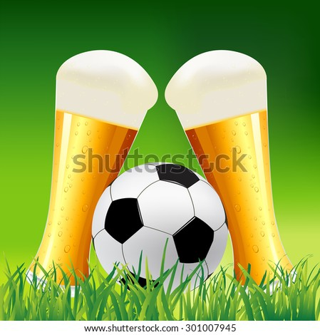 Beer glass and soccer ball on grass. Green soccer background illustration