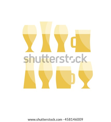 beer glass icon set, simple vector illustration of popular beverage. gold light brewery silhouette