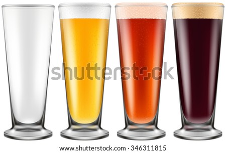 Beer glass in four color schemes for empty glass, lager beer, amber ale and stout. Photo-realistic vector illustration. - stock vector