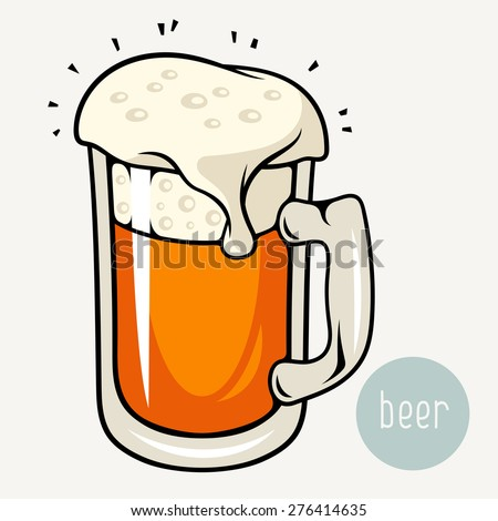 Beer glass mug. Vector illustration. Cold wheat beer