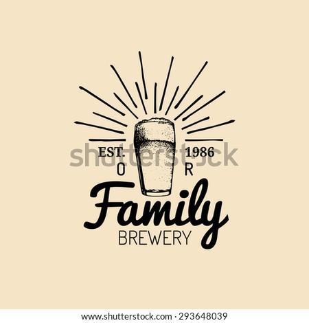 Beer glass. Old brewery. Beer labels. Brewery sketch. Beer bar. Craft beer. Beer  illustration. Vector vintage brewery logo. Retro logotype with beer elements. Hipster beer logo. Beer sign. - stock vector