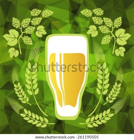 Beer glass on a green polygonal background.EPS-10 - stock vector