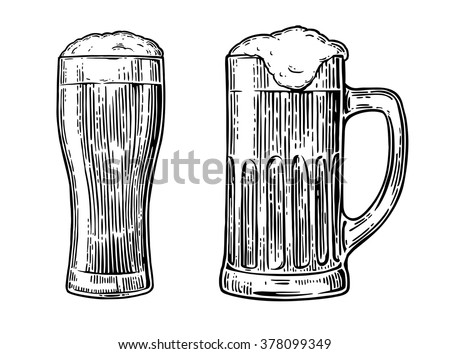 Beer glass.  Vector vintage engraved illustration isolated on white background. - stock vector