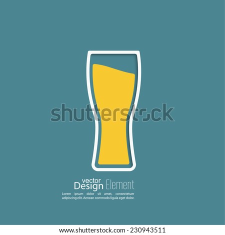 Beer glass with yellow liquid. Logo for restaurant, pub menu, cafe - stock vector