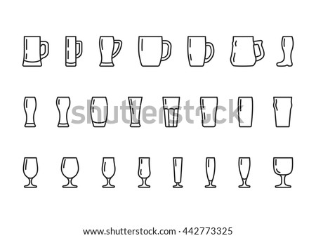Beer glasses and mugs line icon