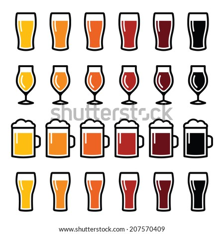 Beer glasses different types icons - lager, pilsner, ale, wheat beer, stout  - stock vector