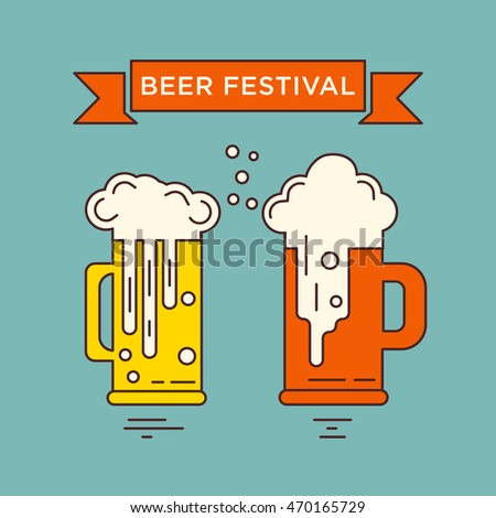 Beer glasses. Octoberfest series. Unique illustration for t-shirts, banners, flyers, invitation cards and other types of business design