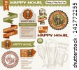 Beer Happy Hour Collection. Set of various design elements. Vintage beer illustration. Ribbon, banner, stamp, emblem, icon - stock vector