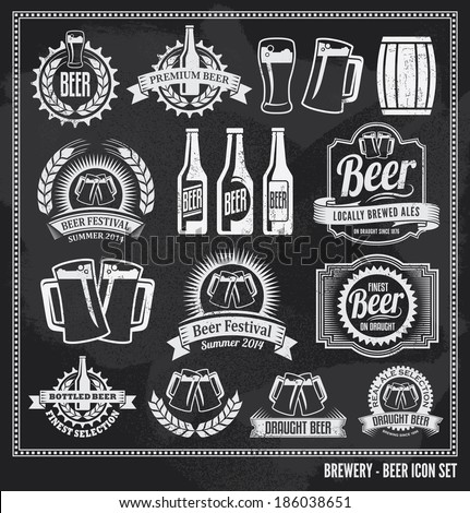 Beer icon chalkboard set - labels, posters, signs, banners, vector design symbols. Removable background texture. - stock vector