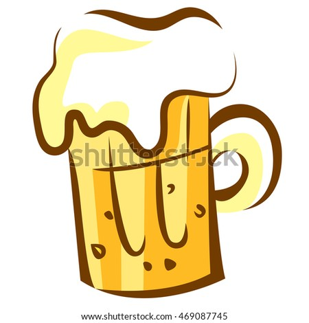 Beer icon. Glass with foam. Trendy pop art cartoon style design. Isolated vector illustration