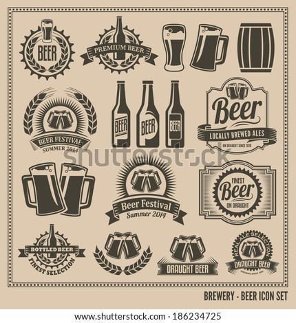 Beer icon set - labels, posters, signs, banners, vector design symbols.  - stock vector
