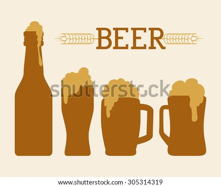 Beer icons, drink and beverage concept, vector illustration