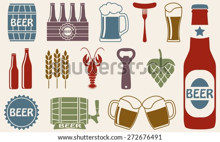 Beer icons set: bottle, opener, glass, tap, barrel. Symbols and design elements for restaurant, pub or cafe. Colorful vector illustration. - stock vector
