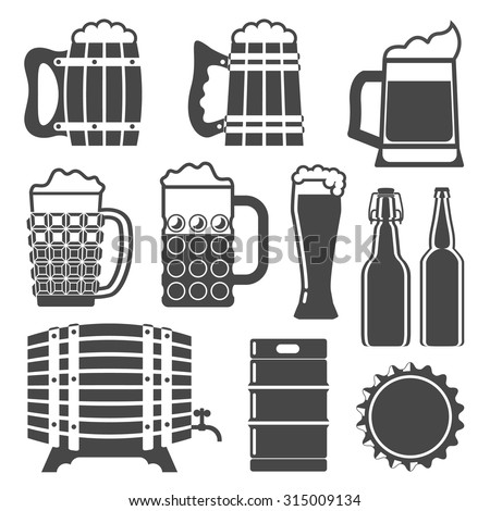 Beer icons set glass mug wooden stock vector 315009134 shutterstock beer icons set glass mug wooden barrel bottle cap bottles pronofoot35fo Image collections