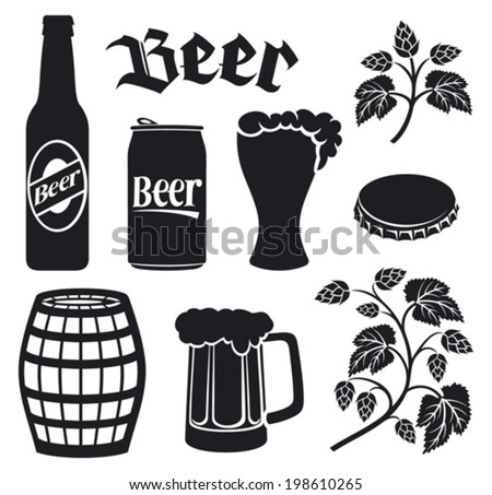 beer icons set (hops leaf, hop branch, wooden barrel, glass of beer, beer can, bottle cap, beer mug, beer beer bottles) - stock vector