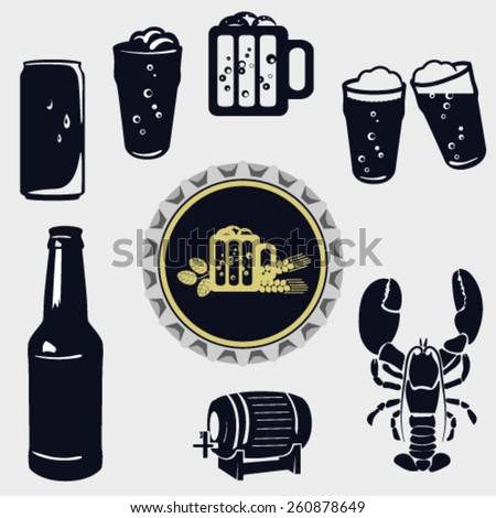 Beer icons set. Vector EPS10 illustration - stock vector