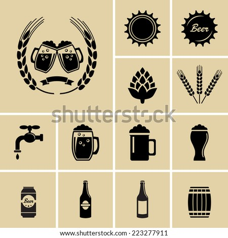 Beer Icons. Vector for web - stock vector