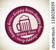 beer illustration, happy hour stamp. vector illustration - stock vector