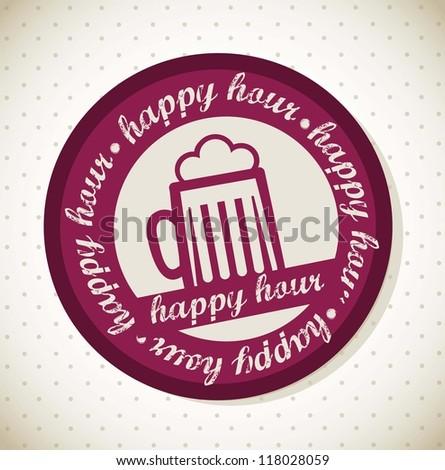 beer illustration, happy hour stamp. vector illustration - stock vector