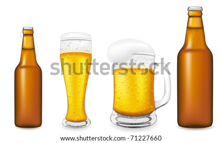 beer in glass and bottle vector illustration isolated on white background
