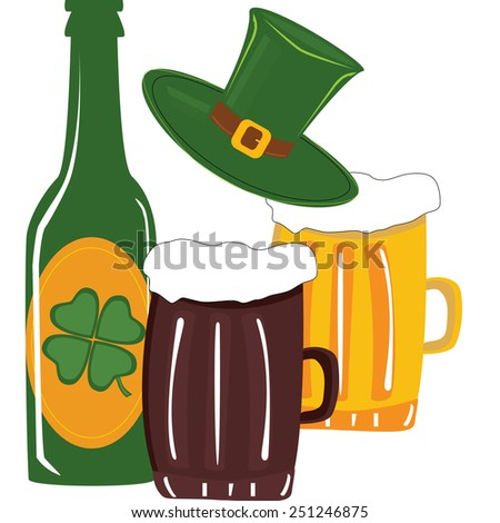 Beer in green bottle and glass for st. Patrick's day - stock vector