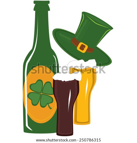 Beer in green bottle and glass for st. patricks day - stock vector