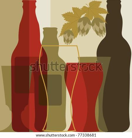 Beer in retro style - stock vector