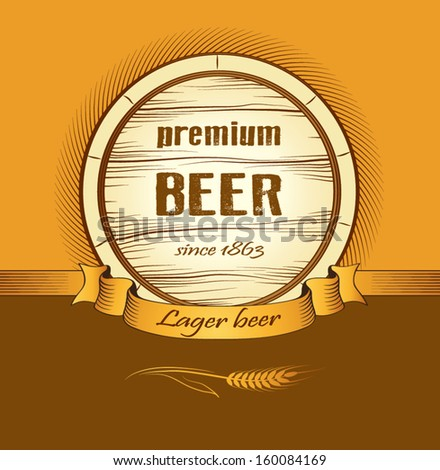 beer keg for lable, package - stock vector