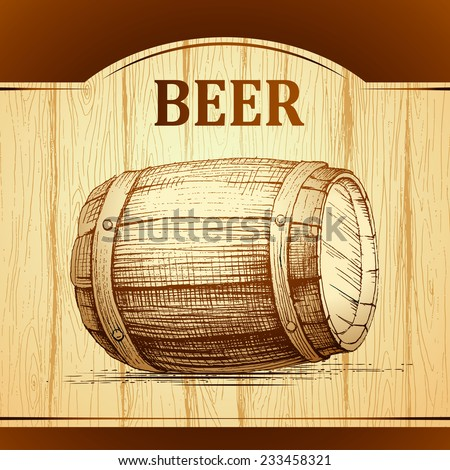 beer keg for lable, package. wooden  vintage background. - stock vector