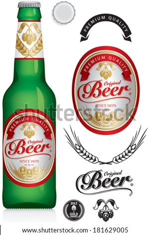 Beer Label and neck label on green beer bottle 330 ml - vector visual, ideal for beer, lager, ale, stout etc. Drawn with mesh tool. Fully adjustable & scalable. - stock vector