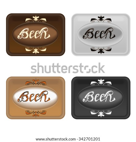 Beer label calligraphy inscription, sign pattern vector - stock vector