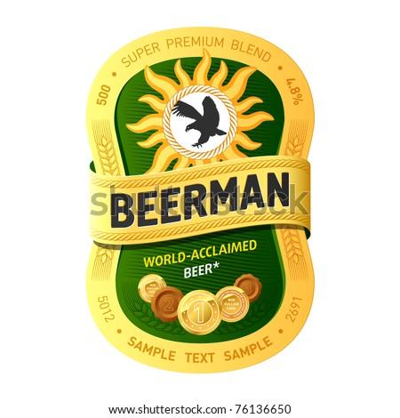 Beer label design. Vector. Add your information. - stock vector