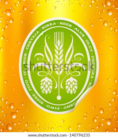 Beer label on beer background with drops - vector illustration - stock vector