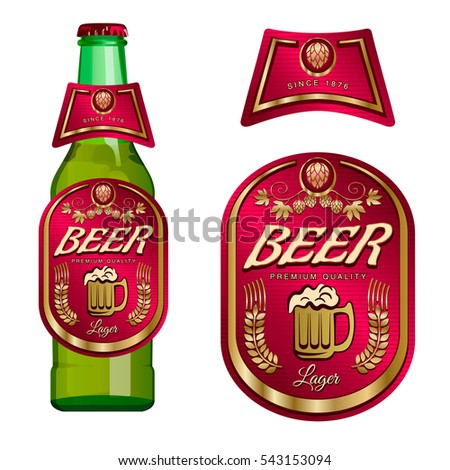 Beer Label Template Neck Label Vector Stock Photo Photo Vector