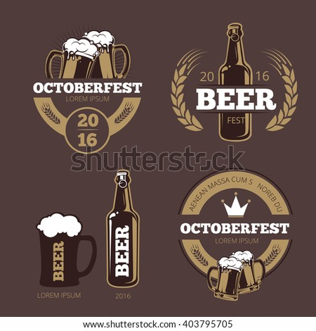Beer label templates for  brewing company, pub bar and logo. icon beverage bottle for Oktoberfest. Vector illustration - stock vector