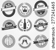 Beer labels or badges - vector black collection of brewery symbols in retro style - stock vector
