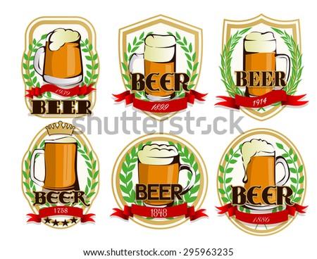 Beer labels set - stock vector