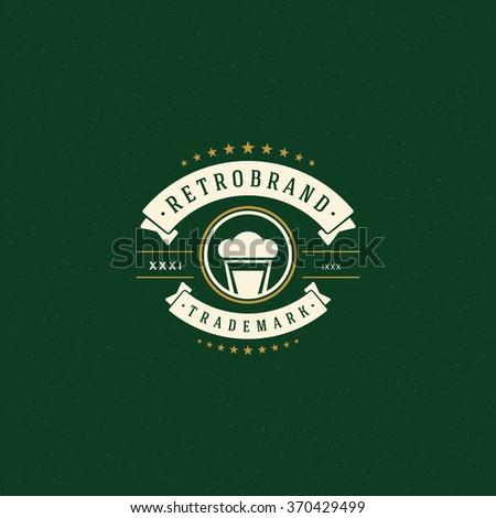 Beer Logo Template. Vector Design Element Vintage Style for Logotype, Label, Badge, Emblem. Brewery Logo, Beer Label, Beer Glass Logo, Beer Icon, Beer Mug Logo, Retro Logo, Beer Symbol, Logo Element. - stock vector