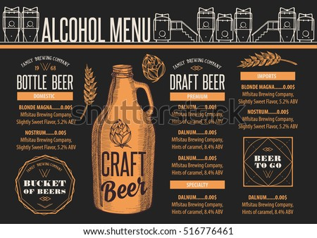 Beer Menu Placemat Food Restaurant Brochure Vector 490108213 – Beer Menu