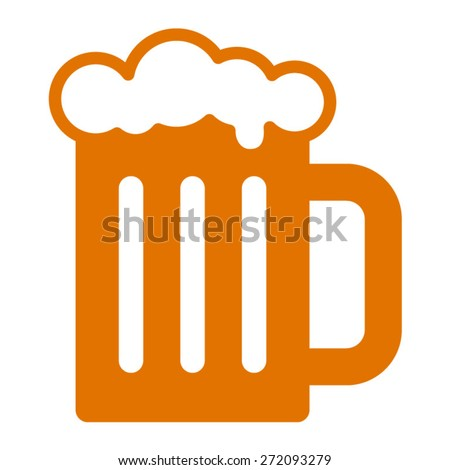 Beer mug flat icon for apps and websites - stock vector