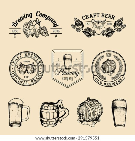 Beer mug, glass, barrel. Old brewery. Beer labels. Brewery sketch. Beer bar. Brewery background. Craft beer. Vector set of vintage brewery logo. Retro logotypes collection with beer elements. - stock vector