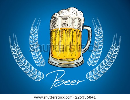 Beer Mug - old drawing style mug of beer with a lot of foam  - stock vector